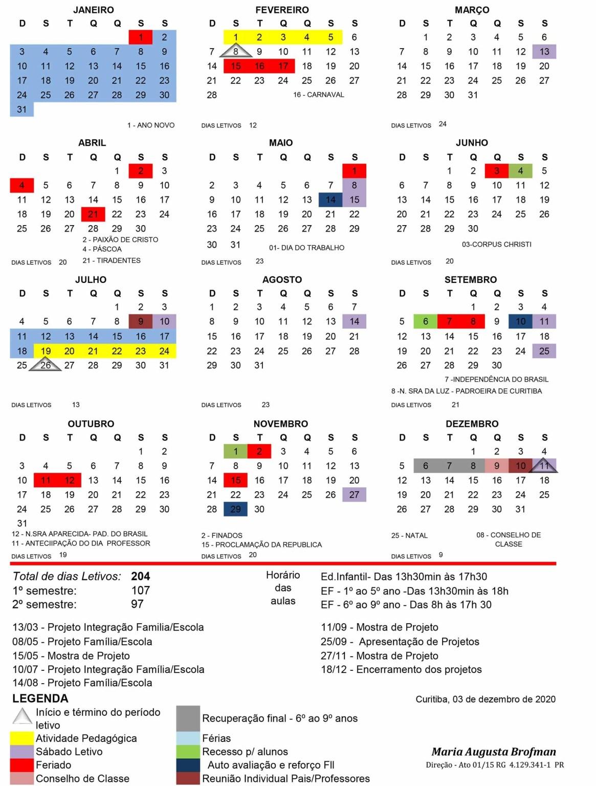 Calendário Escolar 2021 - Escola Terra Firme